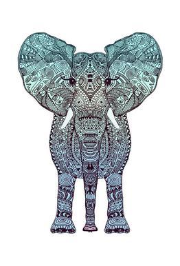 Mint Elephant tableau en verre