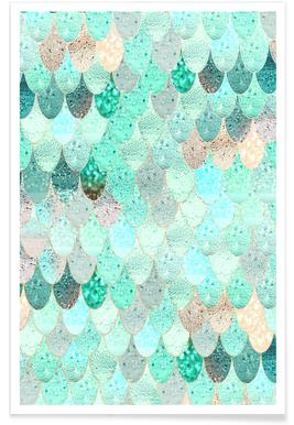 Mermaid Summer Pattern Poster