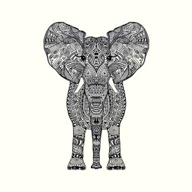 Aztec Elephant Canvas Print