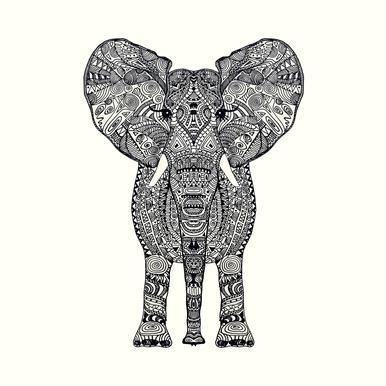 Aztec Elephant tableau en verre