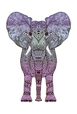 Purple Elephant tableau en verre