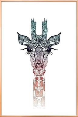 Giraffe poster in aluminium lijst