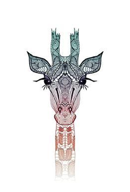 Giraffe tableau en verre