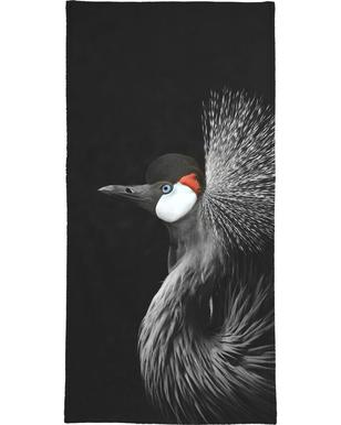 Black Crowned Crane Bath Towel