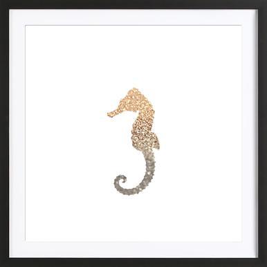 Glitter - Gold Seahorse affiche sous cadre en bois
