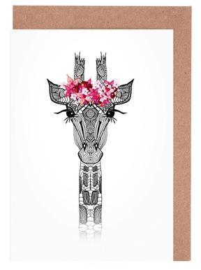Flower Girl Giraffe Greeting Card Set