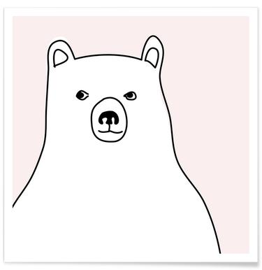 Bear in a Pink Square Poster