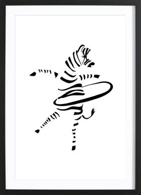 Hula-Hoop Zebra Framed Print