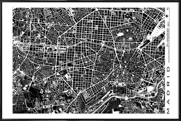 Madrid Black & White Framed Poster