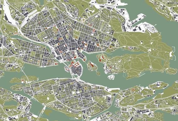 Stockholm- Engraving -Acrylglasbild