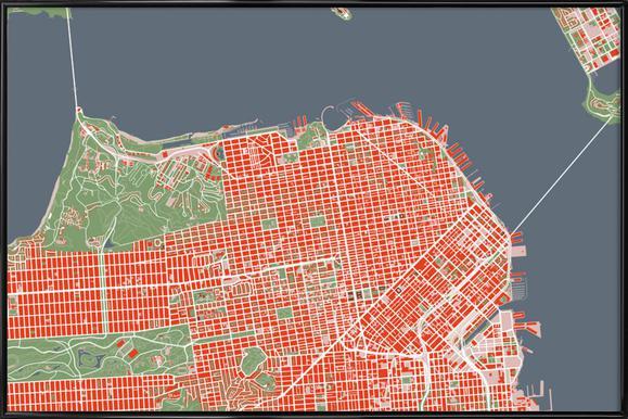 San Francisco - Classic -Bild mit Kunststoffrahmen