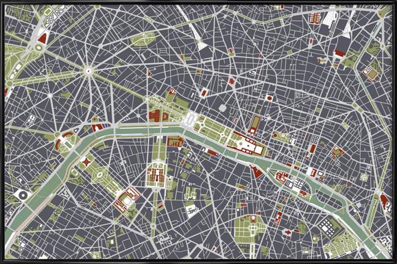 Paris Engraving Framed Poster