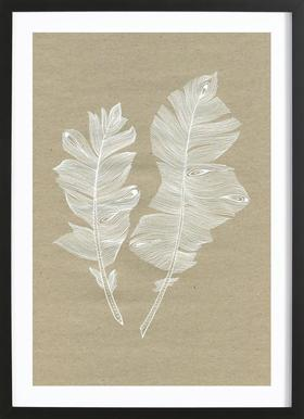Feathers - Poster in Wooden Frame