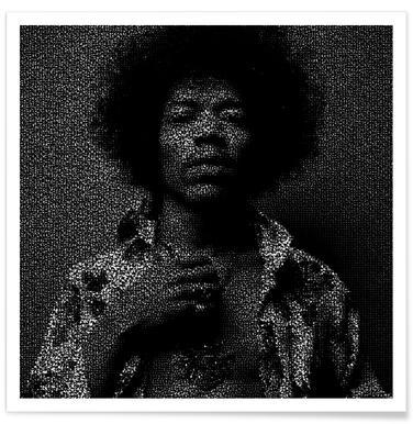 Jimi Hendrix-Pointillismus -Poster