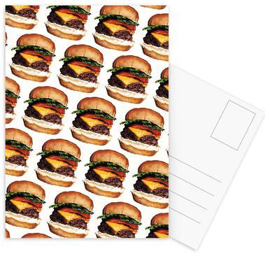 Cheeseburger Pattern Postcard Set