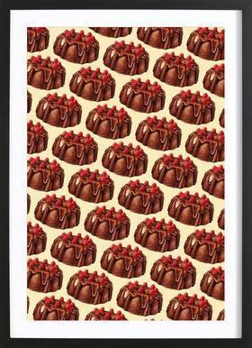 Chocolate Bundt Cake Pattern Framed Print