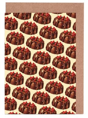 Chocolate Bundt Cake Pattern Greeting Card Set