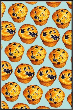 Blueberry Muffin Pattern -Bild mit Kunststoffrahmen