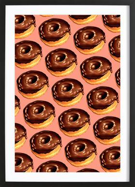 Chocolate Donut Pattern - Pink Framed Print