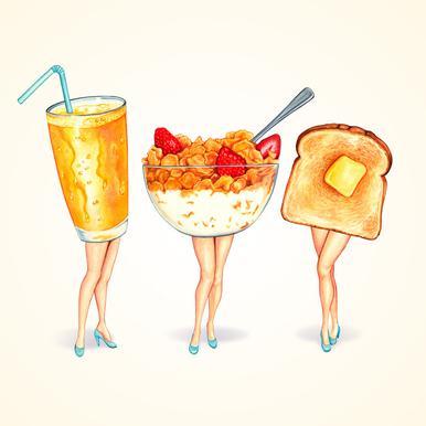 Breakfast Girls Canvas Print