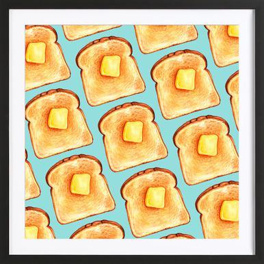 Breakfast Pattern Blue Toast Framed Print