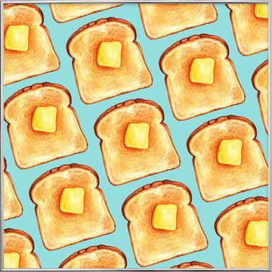 Breakfast Pattern Blue Toast Poster in Aluminium Frame