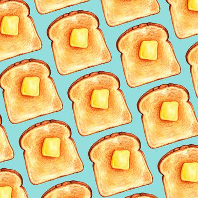 Breakfast Pattern Blue Toast Canvas Print