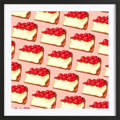 Cherry Cheesecake Pattern Pink Framed Print