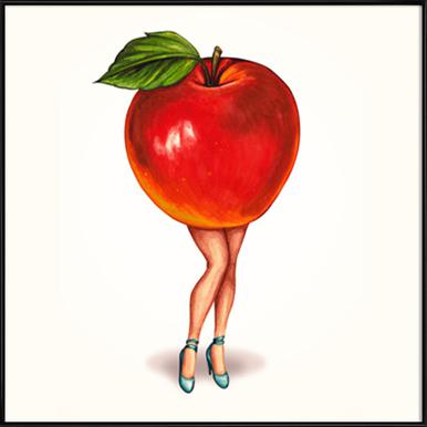 Fruit Girls Apple Framed Poster