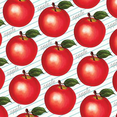 Lunch Patterns Apple Ruled Aluminium Print