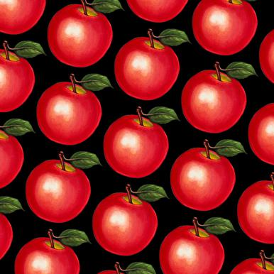 Lunch Patterns Apple Black Canvas Print