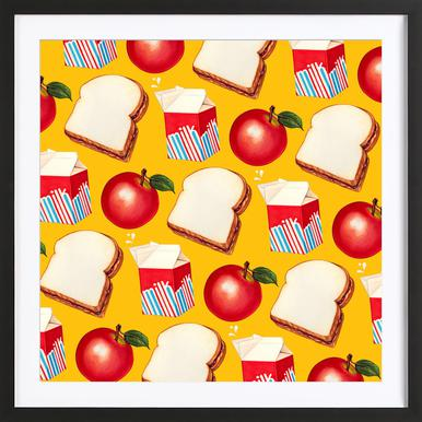 Lunch Patterns Lunch Yellow Framed Print