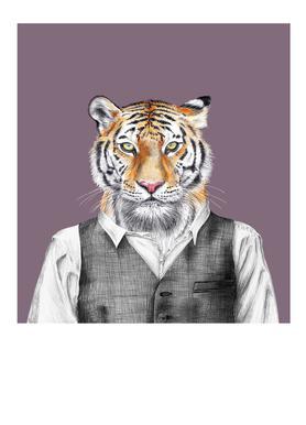 Tiger im Hemd und Weste Canvas Print