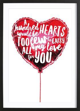 Heart Balloon affiche sous cadre en bois