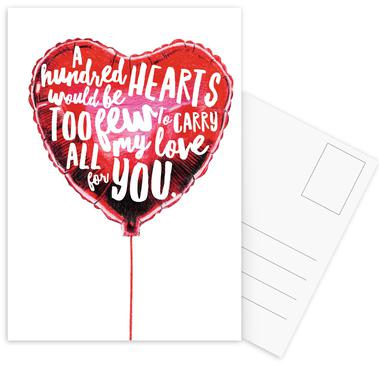 Heart Balloon Postcard Set