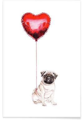 Pug & Balloon Poster
