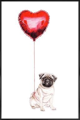 Pug & Balloon Framed Poster