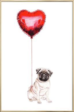 Pug & Balloon Poster in Aluminium Frame
