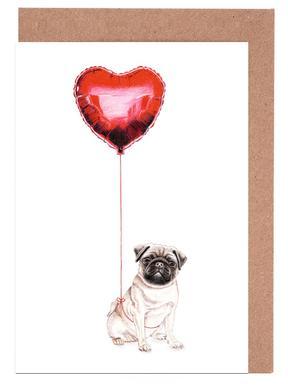 Pug & Balloon -Grußkarten-Set