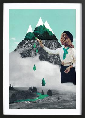 Painting On Mountain Framed Print