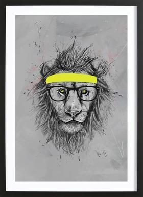 Hipster Lion -Bild mit Holzrahmen