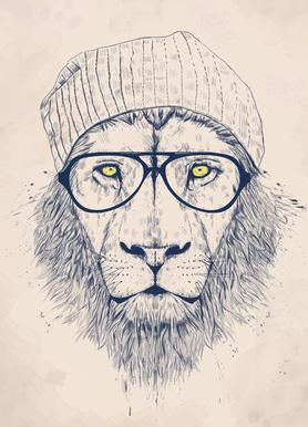 Cool lion -Leinwandbild