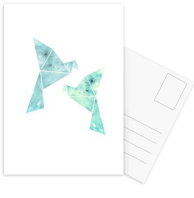 Vögel in Wasserfarbenoptik Postcard Set