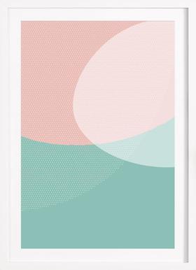 Soft Shapes - Poster im Holzrahmen