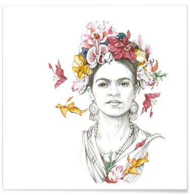 Flowered Frida affiche