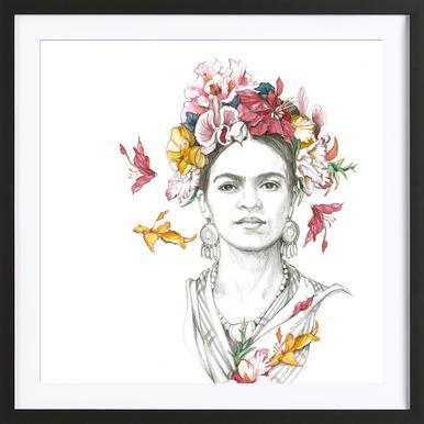 Flowered Frida Framed Print