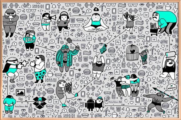 Kool Kids Pattern -Poster im Alurahmen