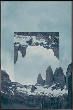 Mirrored 2 Torres del Paine Framed Poster