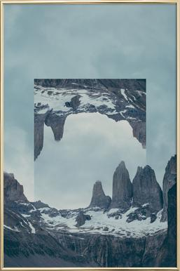 Mirrored 2 Torres del Paine Poster in Aluminium Frame