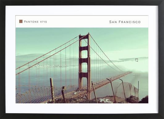 San Francisco Pantone 4715 -Bild mit Holzrahmen